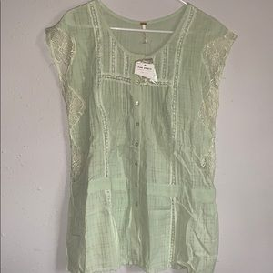 Free People Sheer Lime Ice Top In L